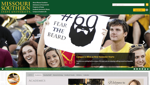 The MSSU Home Page (Desktop)